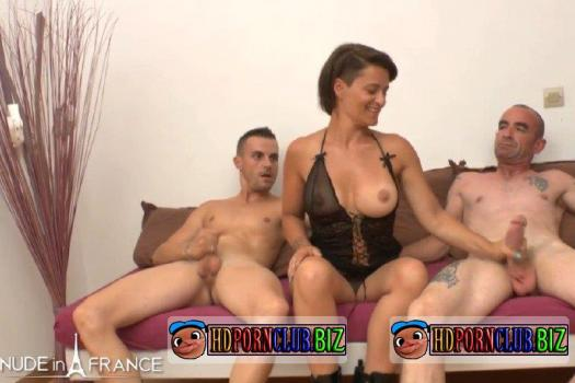 NudeinFrance.com – Amelie Pucycat – Big titted milf Amelie gets deep anal fucked and double penetrated [SD 406p]